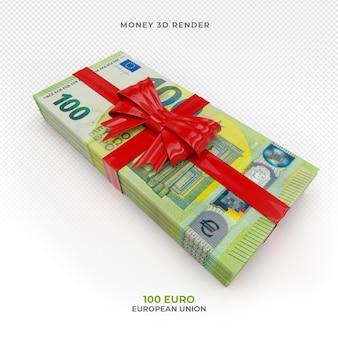 Pakiet pieniędzy 100 euro ze wstążką prezentową