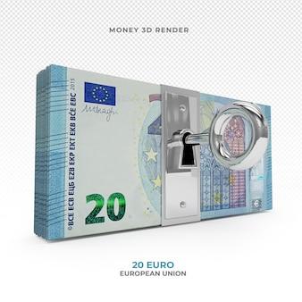 Pakiet pieniędzy 20 euro z zamkiem renderowania 3d