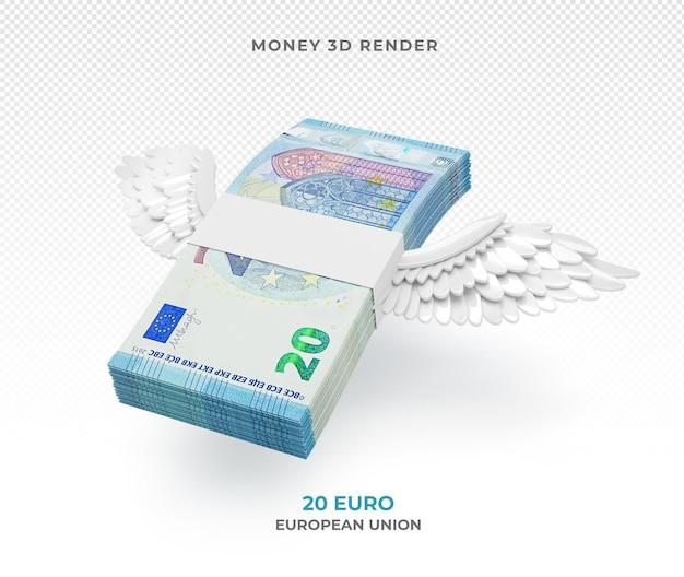 Pakiet pieniędzy 20 euro ze skrzydłami renderowania 3d