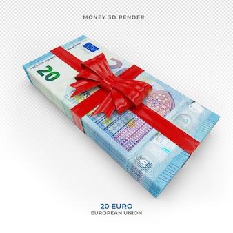 Pakiet pieniędzy 20 euro ze wstążką prezentową