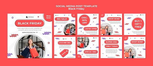 Pakiet postów w mediach społecznościowych w czarny piątek