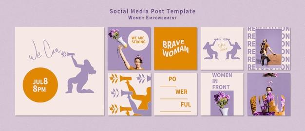 Pakiet postów w mediach społecznościowych wzmacniających pozycję kobiet