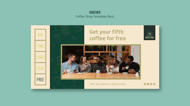 Pakiet szablonów kawiarni z kuponem