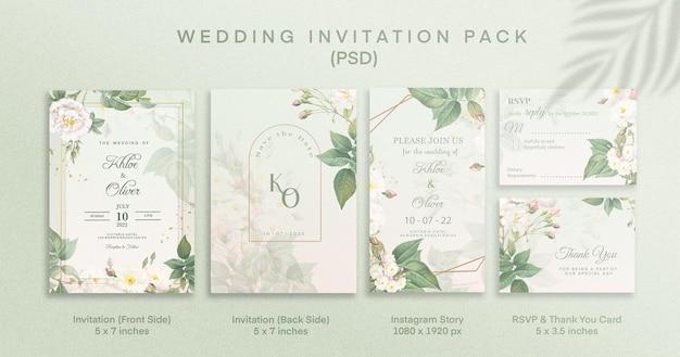 Pakiet zielonych zaproszeń na ślub z podziękowaniem i historią na instagramie