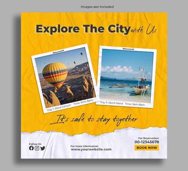 Pakiet zwiedzania postu z banerem zwiedzania miasta