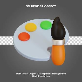 Paleta farb 3d render na białym tle premium psd