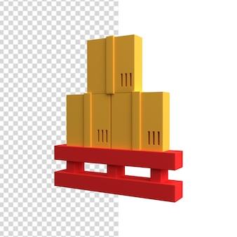 Paleta magazynowa 3d z ikoną pudełek. na białym tle paleta magazynowa 3d z ikoną pola.