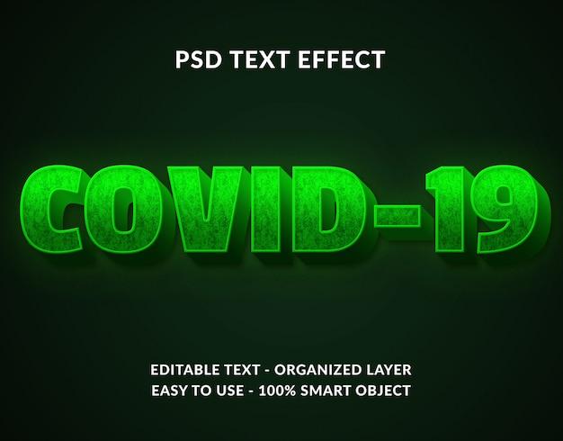 Pandemiczny wirus corona covid19 tekstowy efekt 3d