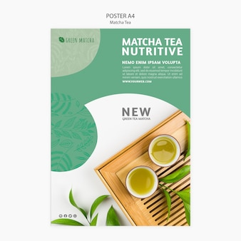 Papiernicze Plakat Matcha Herbaty Darmowe Psd