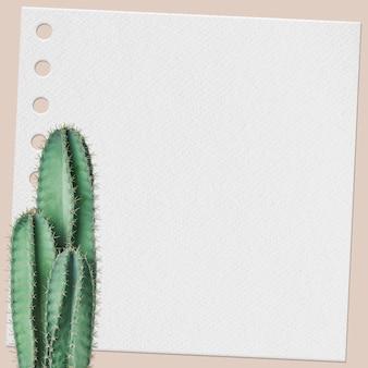 Papierowa notatka psd z rośliną kaktusa