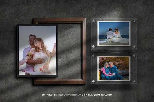 Papierowa ramka na zdjęcia na tle szkła