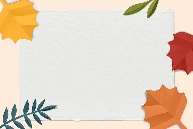 Papierowa ramka z liści psd makieta w jesiennym tonie