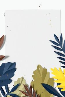 Papierowa ramka z liści psd makieta