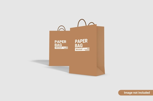 Papierowa torba makieta projekt na białym tle