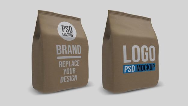 Papierowa torba na kawę renderowania 3d makieta projektu