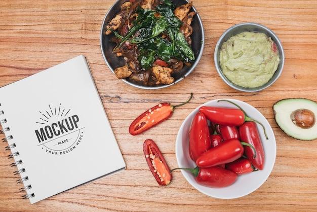 Papryka i makieta zdrowej żywności
