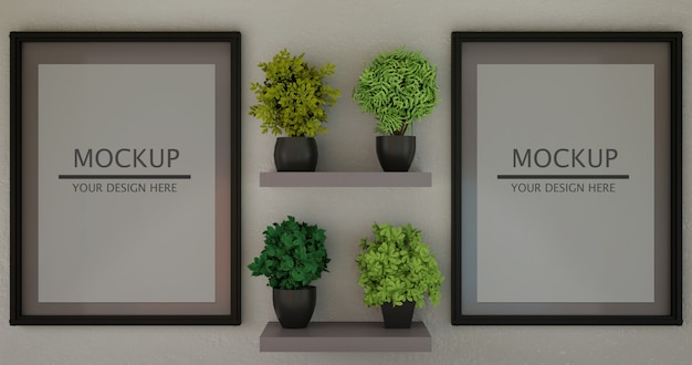 Para makieta poziomej ramy między roślinami na półce ściennej.