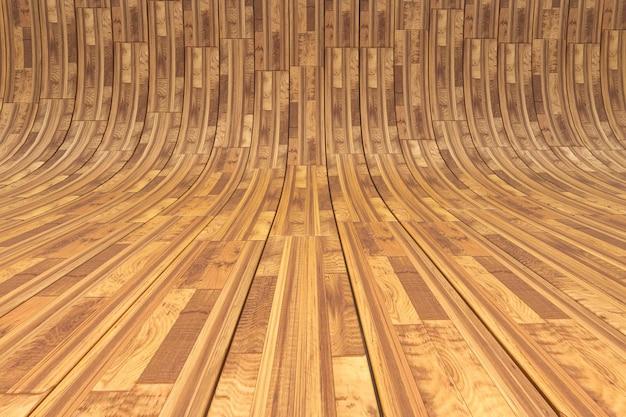Parkiet z zakrzywionego drewna w renderowaniu 3d