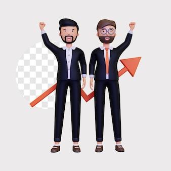Partnerzy biznesowi 3d wspólnie budują biznesy