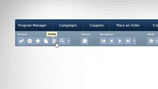 Pasek narzędzi i menu template