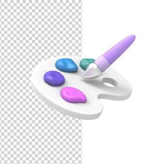 Pastelowa paleta kolorów artystycznych z narzędziem pędzla do rysowania projektu renderowania 3d