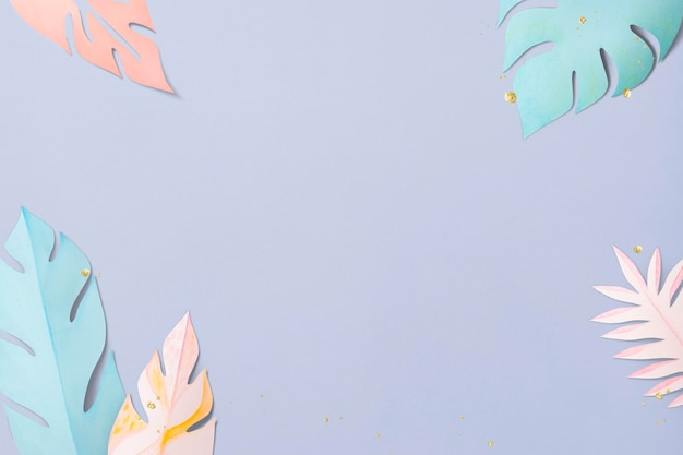 Pastelowe obramowanie liści monstera psd w stylu rękodzieła papierowego