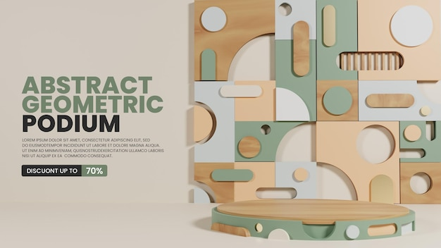 Pastelowe podium z abstrakcyjnym geometrycznym wzorym