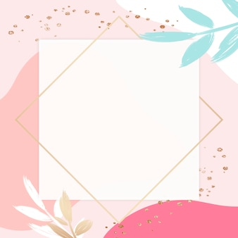 Pastelowo różowa kwadratowa złota ramka memphis psd z liśćmi