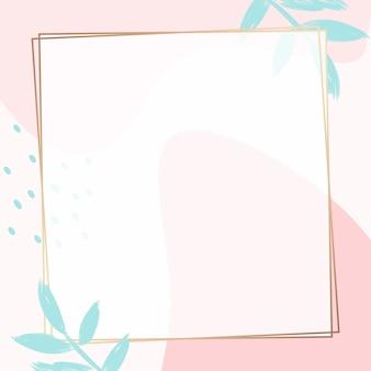Pastelowo różowa ramka memphis psd z liśćmi