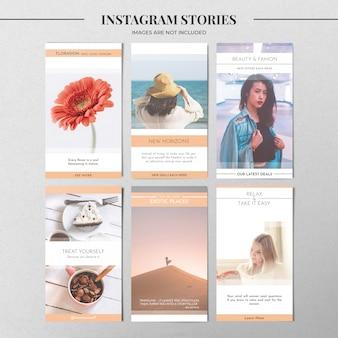 Pastelowy szablon historii na instagramie