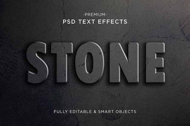 Pęknięty kamień efekt tekstowy pęknięty styl tekstu premium psd