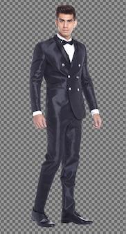Pełna długość ciała 20s caucasion business man czarne włosy nosić garnitur formalne i stanąć spacer, samodzielnie. opalona skóra muskularny mężczyzna stojący nosić suknię ślubną panny młodej pana młodego, białe tło