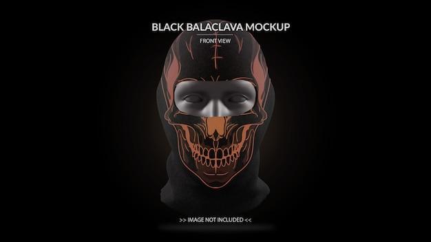 Pełna maska czarna maska kominiarka widok z przodu - męski manekin
