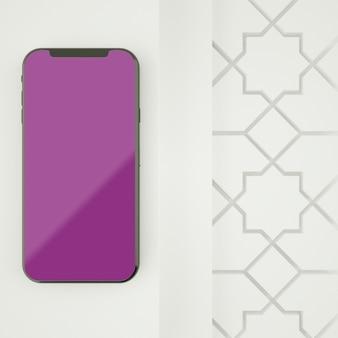 Pełna scena islamska z parawanowym smartphone mockup 3d renderingiem