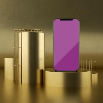Pełna scena z parawanowym smartphone mockup 3d renderingiem