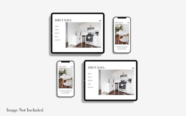 Pełnoekranowy projekt makiety tabletu i smartfona