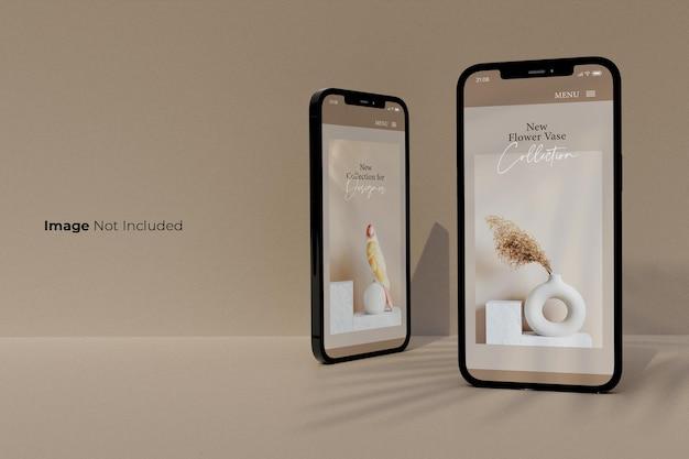 Pełny ekran-czarny-smartfon-makieta-projekt