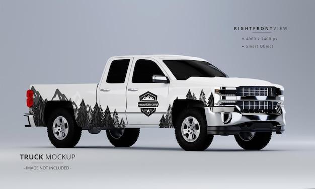 Pickup truck mock up widok z przodu po prawej stronie