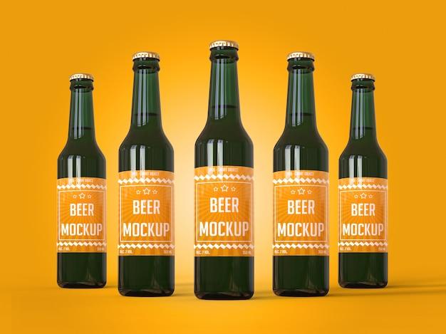 Pięć butelek piwa z makietą etykiety