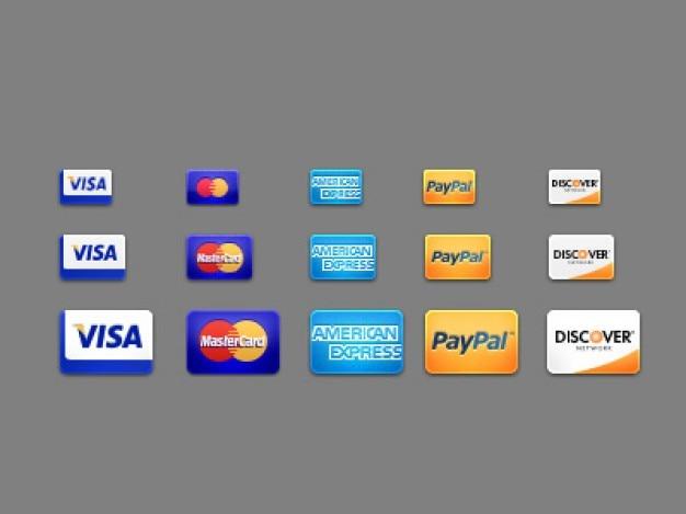 Pięć kart icon jako metody płatności psd