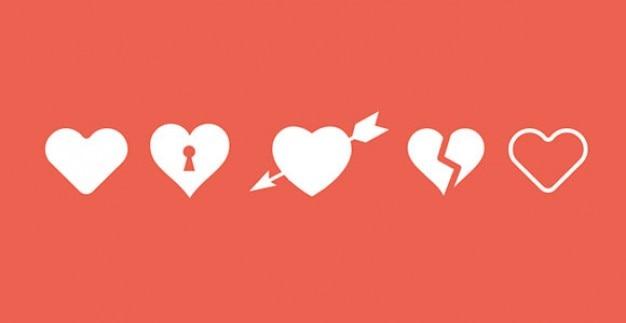 Pięć kształty ikony serca psd