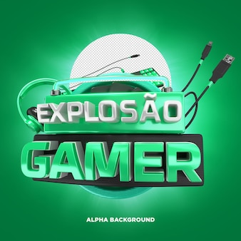 Pieczęć 3d eksplozja gracza