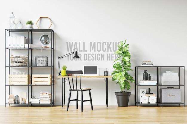 Piękna biała ściana makieta wnętrza obszaru roboczego w stylu skandynawskim