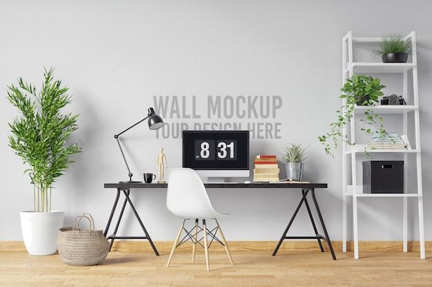 Piękna biała ściana makieta wnętrza workspace w stylu skandynawskim z roślinami i dekoracjami