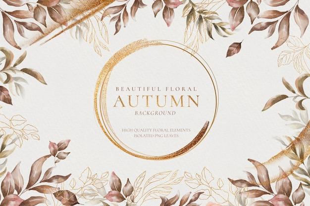 Piękna jesień kwiatowy tło ze złotymi liśćmi