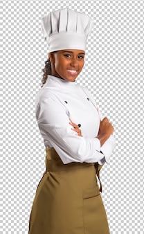 Piękna kobieta szefa kuchni brazylijskiej na przezroczystej przestrzeni