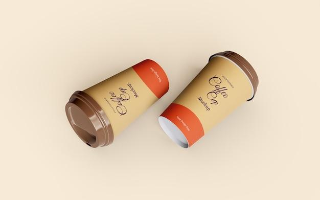 Piękna makieta papierowych filiżanek na wynos
