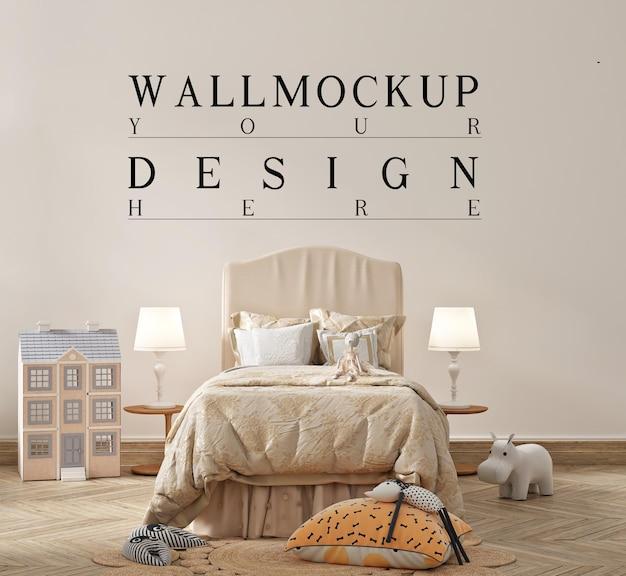 Piękna makieta ścienna w nowoczesnej sypialni dla dzieci
