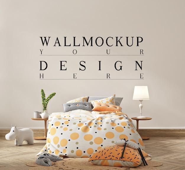 Piękna makieta ścienna w uroczym, prostym wnętrzu dziecięcej sypialni