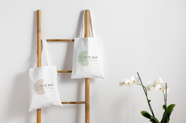 Piękna makieta tekstylnej torby na ramię